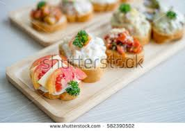 canape toast mix canapes toast tomato cheese on stock photo royalty free