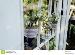 wedding floral decorations in rustic style stock photo