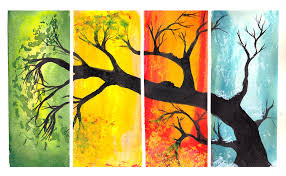 one tree blending colors horizontal rectangles trees and