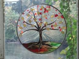 autumn stained glass tree of by renaissanceglass on etsy