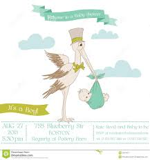 baby shower card with stork stock image image 29314071