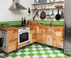 Small Stoves For Small Kitchens by Rustic Wood Storage On Tile Floor Inside Diy Small Kitchen With