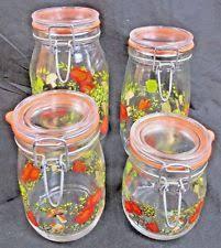 vintage glass canisters kitchen vintage original kitchen glass canisters ebay