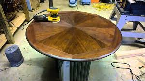 Wood Table Refinishing Refinishing A Wood Table With A Metal Base Youtube