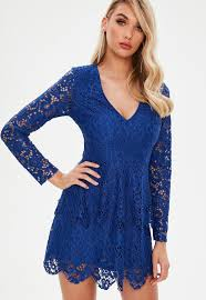blue lace dress lace dresses sleeved lace dress missguided
