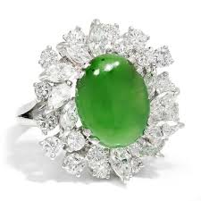 jade engagement ring estate green jade ring with vs diamonds in platinum 7 50ctw once