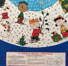 brown tree skirt fabric panels peanuts snoopy