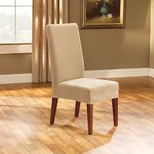 Elegant Chair Covers Dining Room Brown Fabric Dining Room Chair Covers With Half Skirt