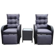 Black Patio Chairs by Mykonos Twin Outdoor Recliner Set Black