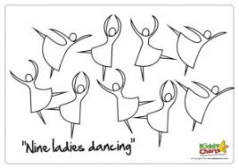 12 days of christmas coloring page on the 9th day of christmas nine ladies dancing