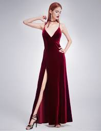 evening gowns velvet evening dress with thigh high slit