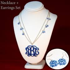 personalized monogram necklace true blue 3 initials monogram necklace and earrings set vine