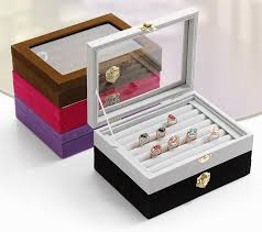 jewelry box 20 small ring jewelry box glass cover ring storage box stud earring