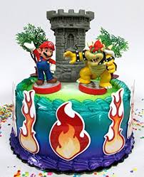 mario cake toppers mario brothers mario versus bowser castle themed