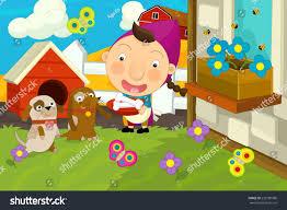 Backyard Cartoon Cartoon Farm Scene Farm Playing Stock Illustration 233180986