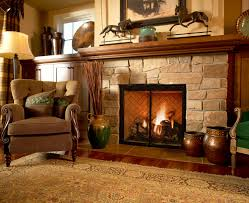 kitchen fantastic fireplace design idea with brown stone wall