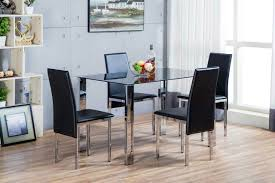 glass metal dining table orlando dining table set black faux leather chairs furniturebox