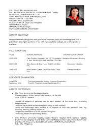 nursing resume with experience sle resume as nurse copy sle nurse resume philippines