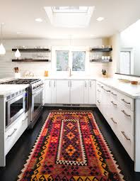 rug runners contemporary aztec rug in kitchen contemporary with next to non within slip