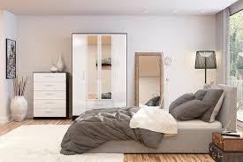 White Gloss Bedroom Wardrobes Birlea Lynx 3 Door 2 Drawer Wardrobe With Mirror High Gloss