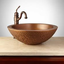 Bathroom Vanity With Copper Sink by Mahala Round Embossed Copper Double Wall Vessel Sink Antique