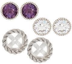 judith ripka earrings judith ripka sterling 2 sets of stud earrings with jacket set