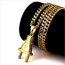 brand gold necklace images 18k gold plated plug necklace w pendant trap closet jpg