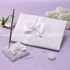 ivory wedding guest book free shipping wedding ivory wedding guest book and pen set with