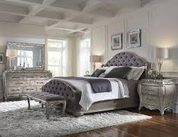 upholstered bedroom set rhianna upholstered bedroom set in silver patina
