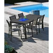 ensemble table chaises oman ensemble table et chaises aluminium 6 places gris anthracite