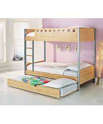 Beech Bunk Beds Oslo Single Bunk Bed With Trundle And Protector Mattresses