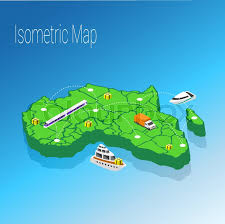 3d africa map vector map africa isometric concept 3d flat illustration of map africa