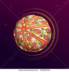 planet cuisine pizza planet space illustration food เวกเตอร สต อก 700203133