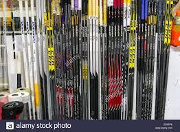 nashville predators hockey sticks on the bench during the nhl game