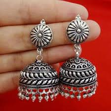 Buy Tribal German Silver Jhumka Earrings Anetra Multicoloured German Silver Jhumkas Online