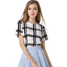 Black And White Plaid Shirt Womens Buy White And Black Long Sleeve Plaid Shirts Women Tops Boyfriend