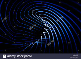 sound waves in the visible blue color in the dark stock photo