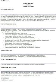 Hobbies And Interests On Resume Examples by Civil Service Cv Example Lettercv Com