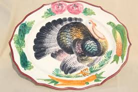 vintage italian ceramic serving platter w painted thanksgiving