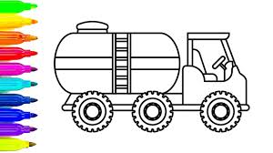 learn colors for kids with car and truck oil truck coloring pages