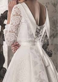 line long sleeves corset back floor length ivory lace satin
