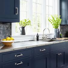 houzz blue kitchen cabinets 75 beautiful kitchen with blue cabinets and black backsplash