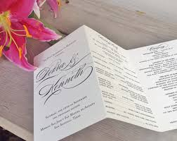tri fold wedding program printable tri fold wedding program calligraphy