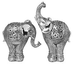 pair of medium silver elephant ornaments co uk kitchen home