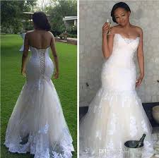 2017 lace mermaid wedding dresses for black women plus size bodice