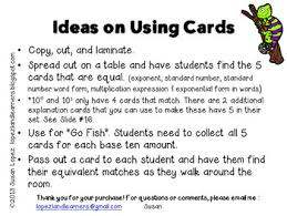 grade common core powers of ten base 10 exponent card set
