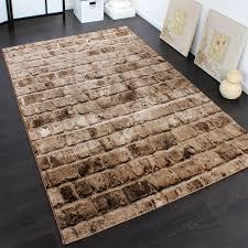 steinwand wohnzimmer beige edler designer teppich mit steinwand optik in braun beige meliert
