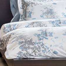 bambeco arbor grove woodland organic cotton duvet cover full queen in blue