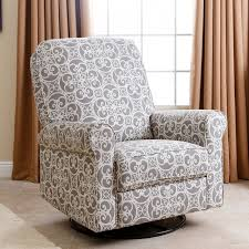 abson perth grey floral fabric swivel glider recliner chair