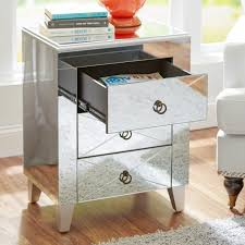 Kullen Nightstand by Mirrored Nightstand Side End Table Glass Glam Accent Decor Bedroom